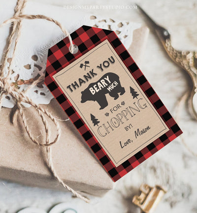 Editable Lumberjack Favor Tags Thank you Beary Much Lumberjack Tags Baby Shower Chopping by Buffalo Plaid Template PRINTABLE Corjl 0026
