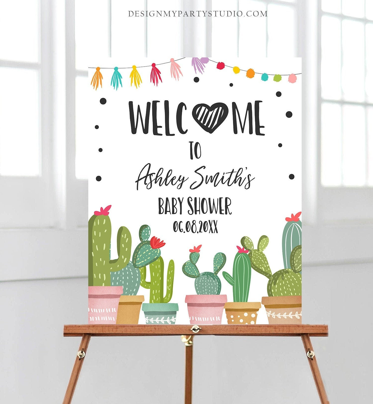 Editable Taco Bout a Baby Welcome Sign Baby Shower Cactus Mexican Succulent Couples Shower Table Sign Corjl Template Printable 0254