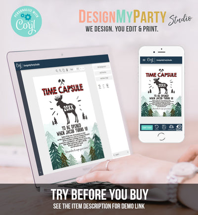 Editable Lumberjack Time Capsule 1st Birthday Party Game Moose Trees Buffalo Plaid Guestbook Digital Download Corjl Template Printable 0026