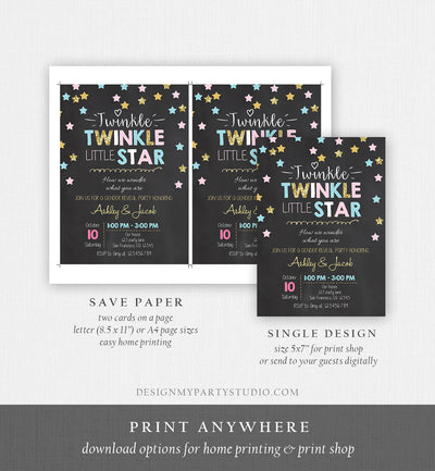 Editable Twinkle Little Star Gender Reveal Invitation Baby Shower Blue or Pink He or She Little Star Download Corjl Template Printable 0028