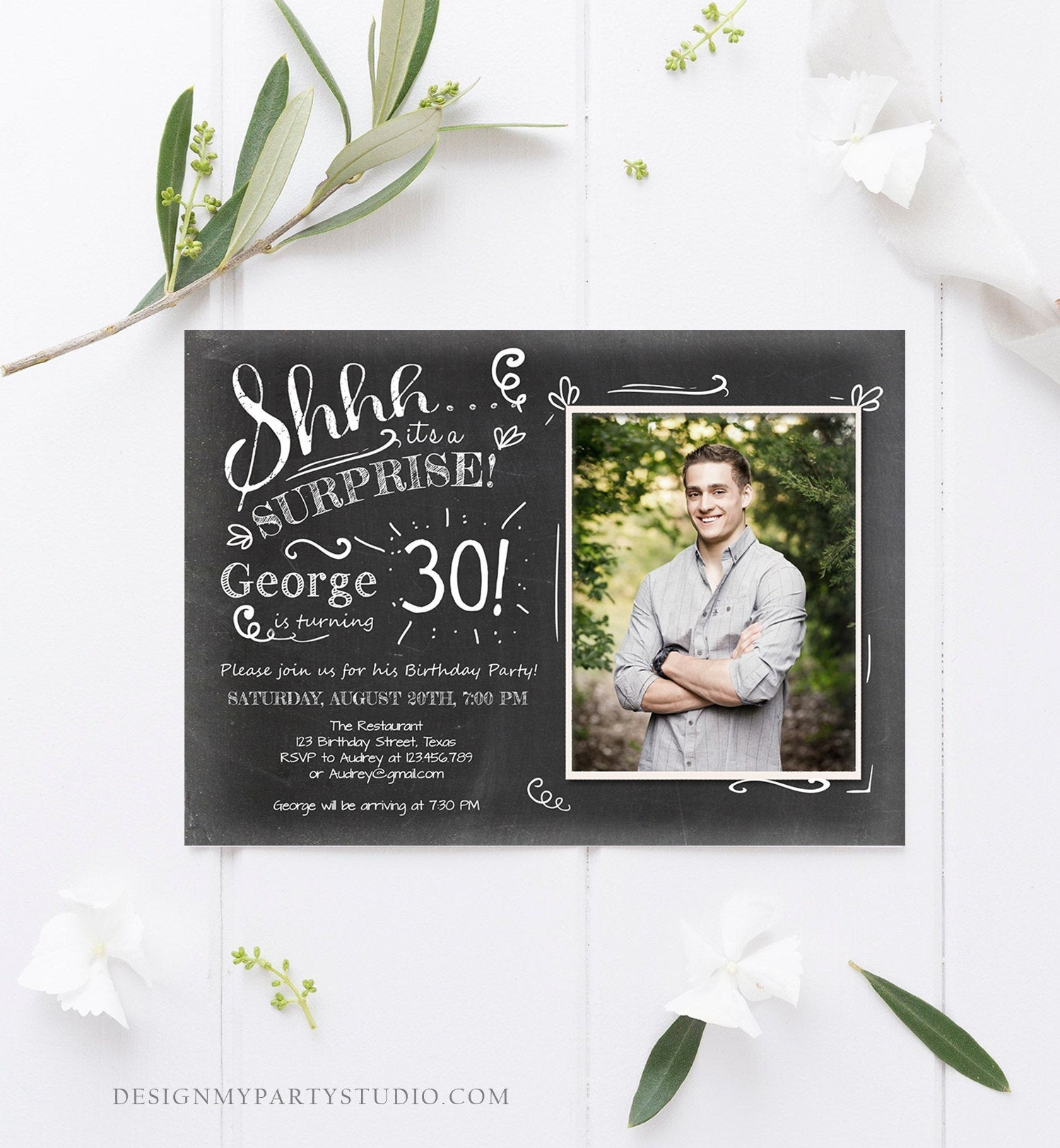 Editable ANY AGE Surprise Birthday Invitation Chalk Rustic Adult 30th Thirty Vintage Party Photo Shhh Download Printable Corjl Template 0102