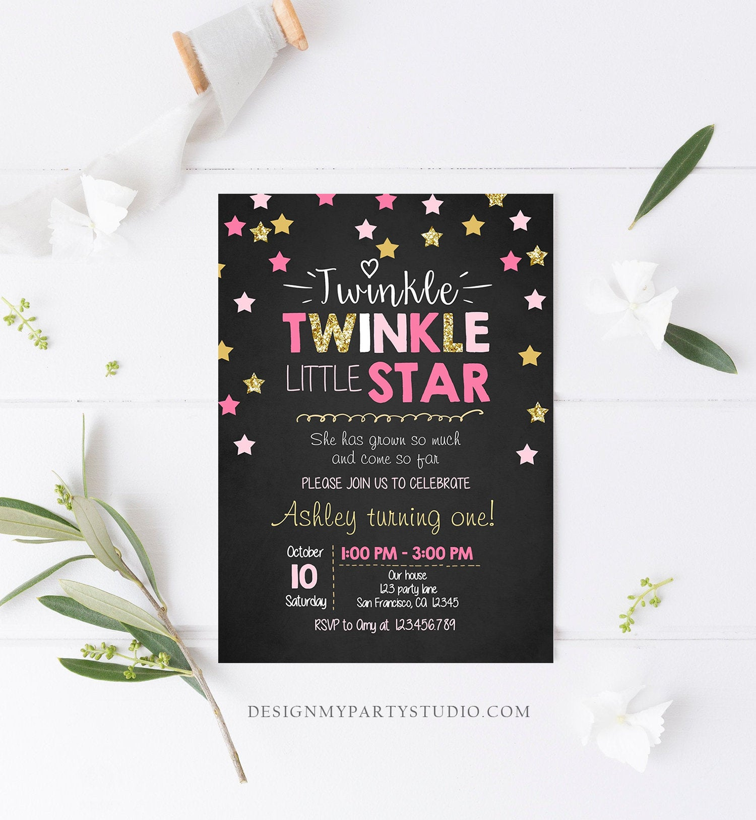 Editable Twinkle Little Star Birthday Invitation Pink Gold Glitter Girl First Birthday Chalk Stars Download Corjl Template Printable 0028