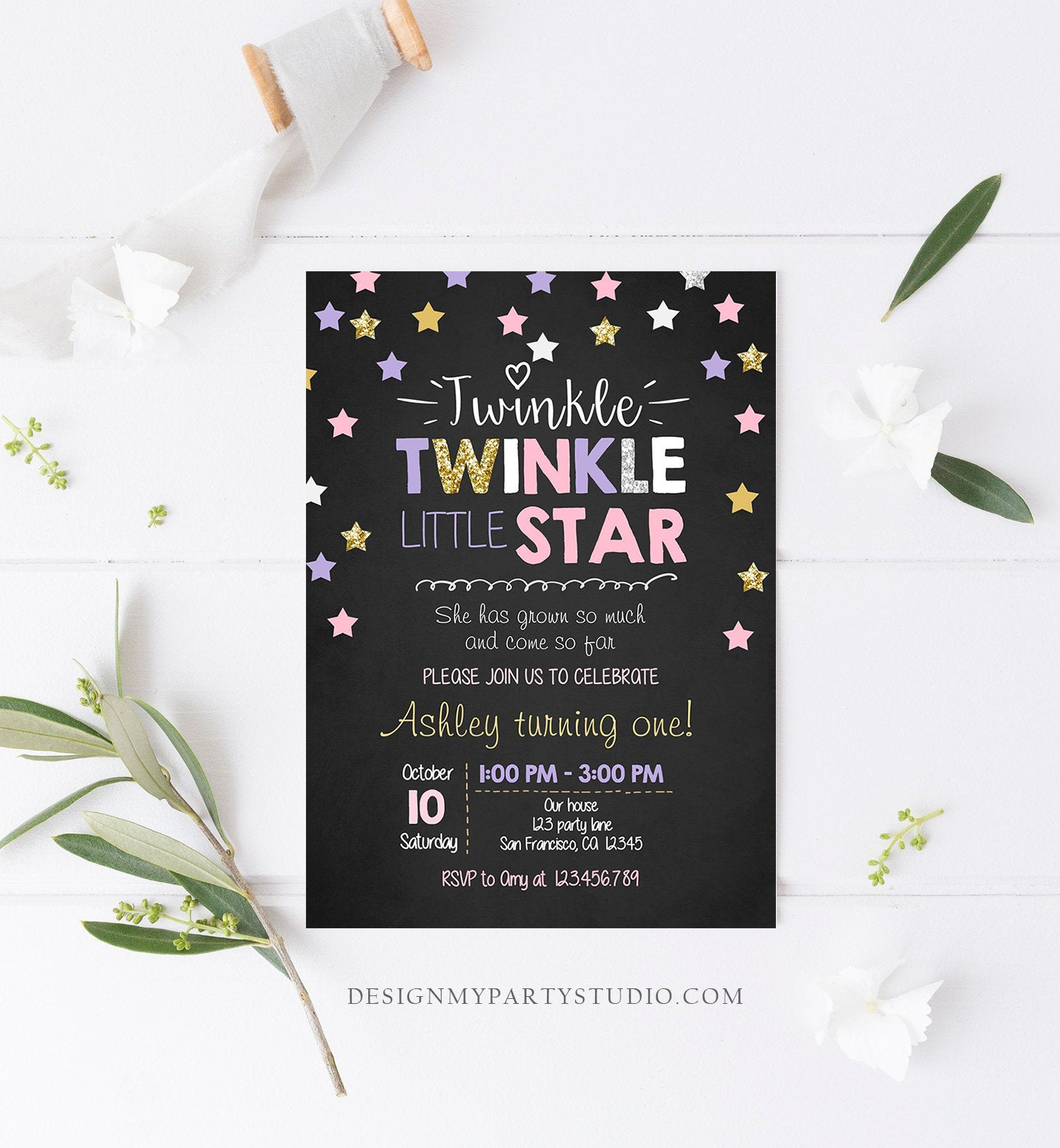 Editable Twinkle Little Star Birthday Invitation Pink Purple Gold Silver Girl First Birthday Chalk Stars Corjl Template Printable 0028