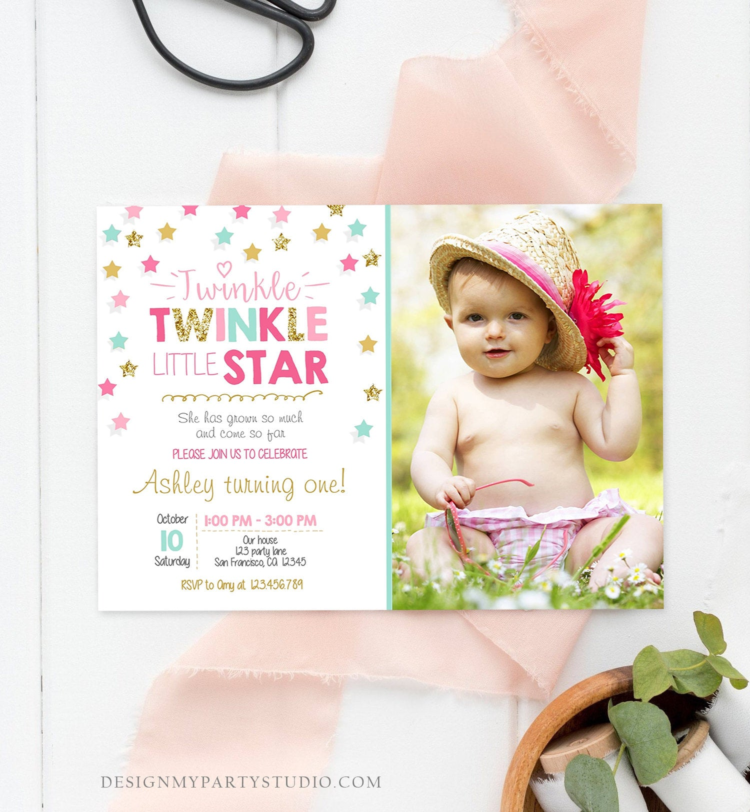 Editable Twinkle Little Star Birthday Invitation Pink Blue Mint Gold Girl First Birthday Chalk Stars Download Corjl Template Printable 0028