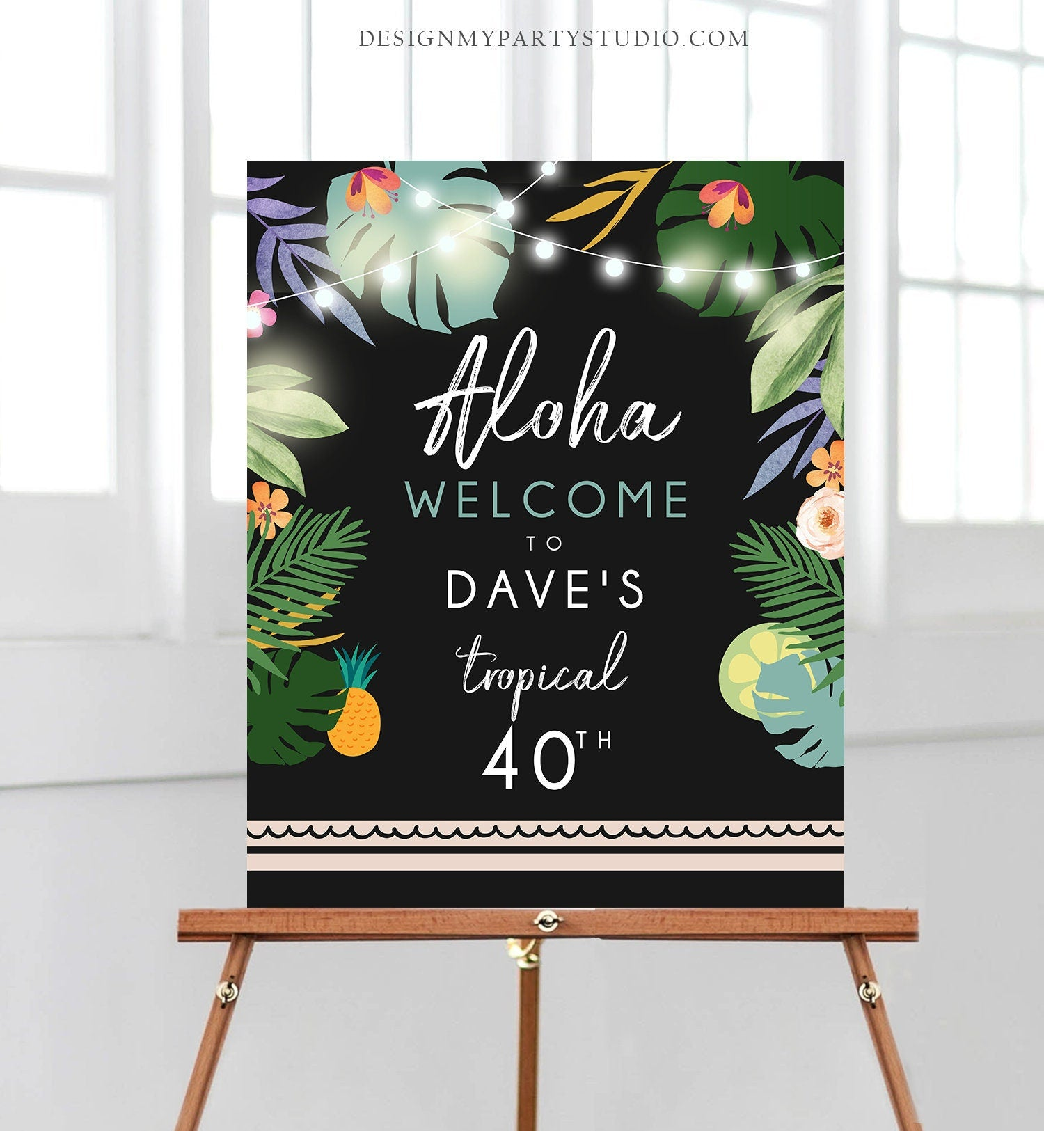 Editable Tropical Welcome Sign Aloha Tropical Party Adult Birthday Decorations Sign Man Palm Leaves Hawaiian Template PRINTABLE Corjl 0183
