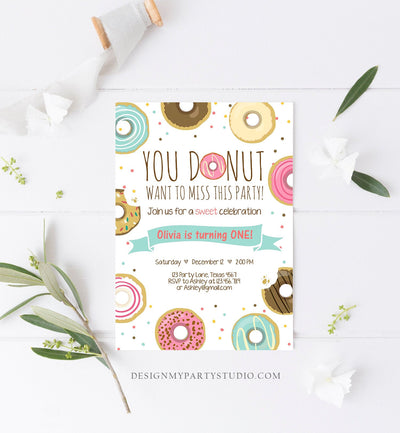 Editable Donut Birthday Invitation You Donut Want To Miss This Girl Pink Sweet Doughnut First Birthday 1st Donut Grow Up Corjl Template 0050