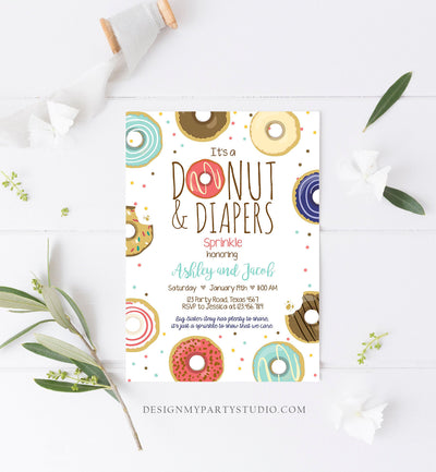 Editable Donut and Diapers Sprinkle Invitation Baby Shower Coed Shower Boy Navy Blue Red Sweet Printable Corjl Template Digital 0050