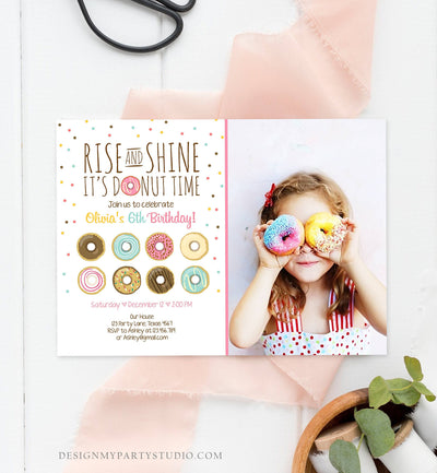 Editable Rise and Shine Donut Time Birthday Invitation ANY AGE Sweet Girl Birthday Party Pink Doughnut Digital Corjl Template Printable 0050