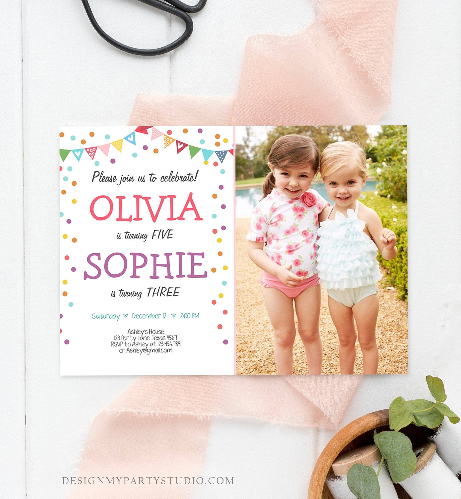 Editable Twin Birthday Invitation Twins Confetti Girls Joint Birthday Party Twin Confetti Download Printable Template Digital Corjl 0292