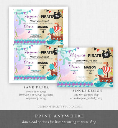 Editable Mermaid and Pirate Birthday Invitation Sibling Pirate or Mermaid Invite Boy and Girl Joint Download Printable Template Corjl 0293