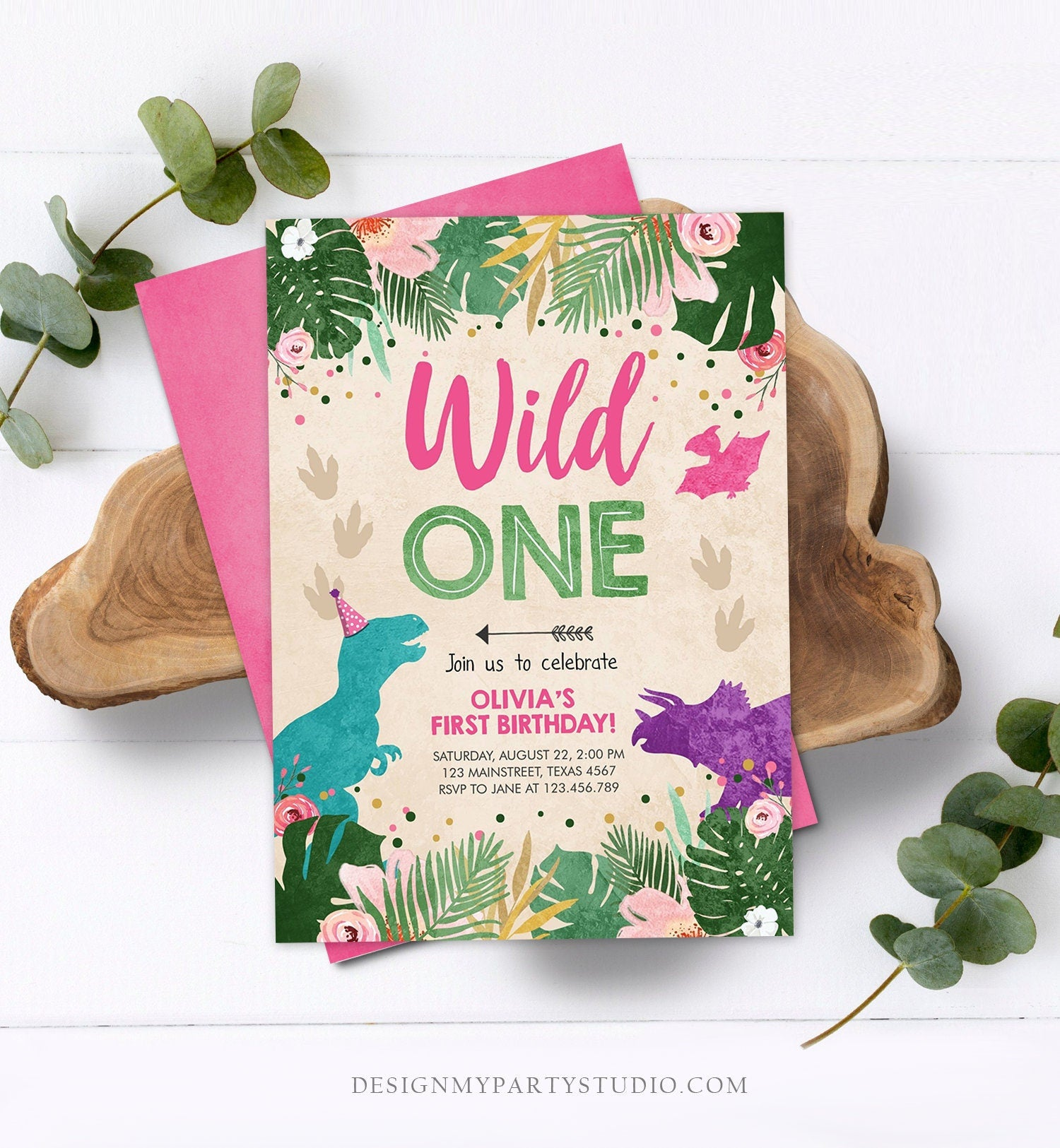 Editable Wild One Birthday Invitation Dinosaur Dino Party Girl 1st First Birthday Pink Purple Digital Download Corjl Template Printable 0146
