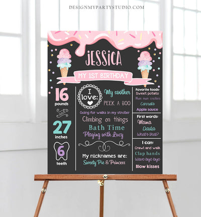 Editable Ice Cream Birthday Milestones Sign Girl Pink First Birthday Chalkboard 1st Cone Sweet Poster Download Corjl Template Printable 0243