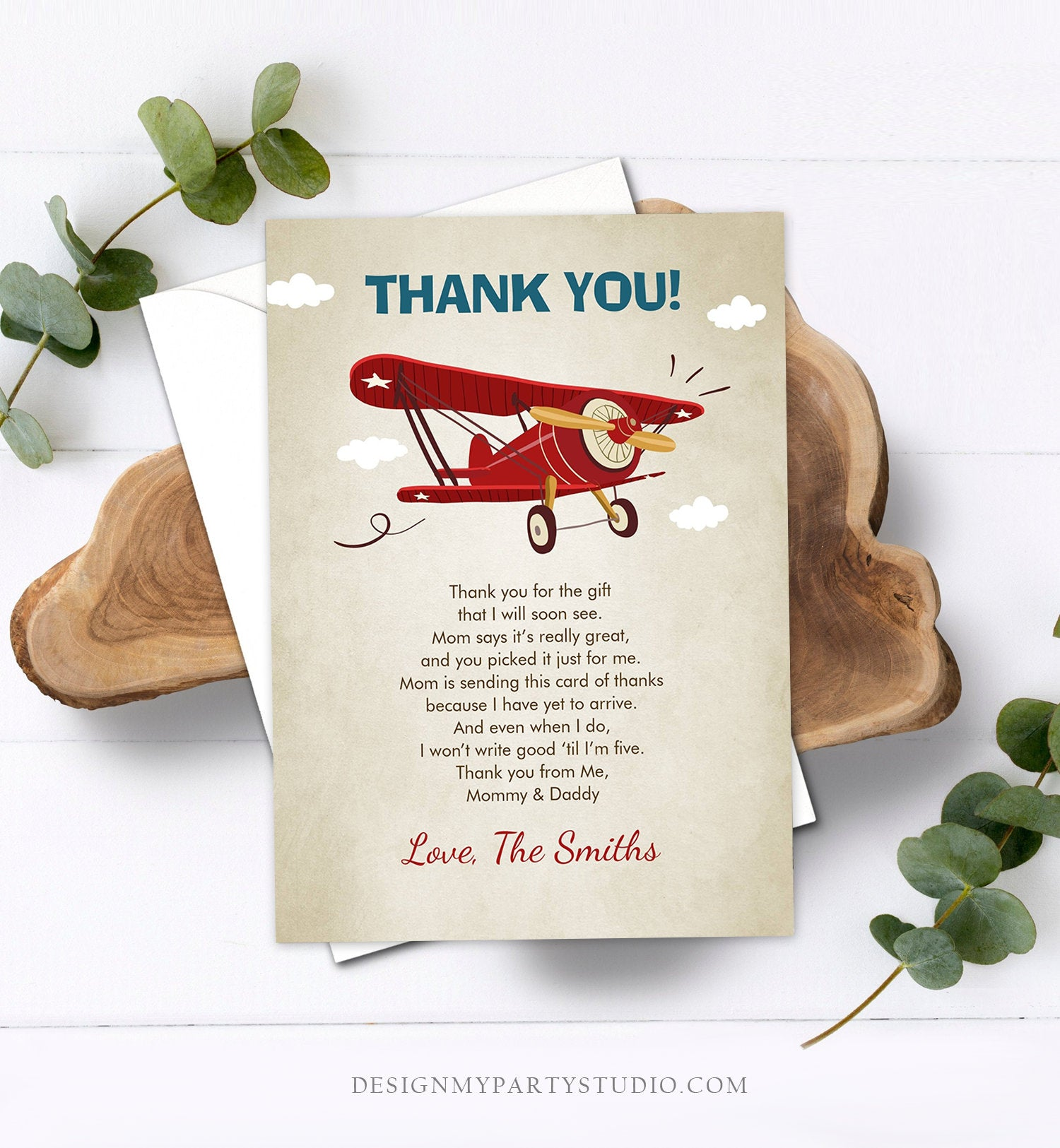 Editable Airplane Thank You Card Airplane Birthday Adventure Travel Baby Shower Vintage Red Plane Aircraft Download Corjl Template 0011