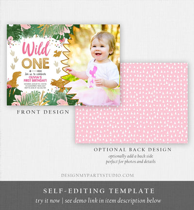 Editable Wild One Birthday Invitation Dinosaur Dino Party Girl 1st First Birthday Pink Gold Born to be Wild Corjl Template Printable 0146