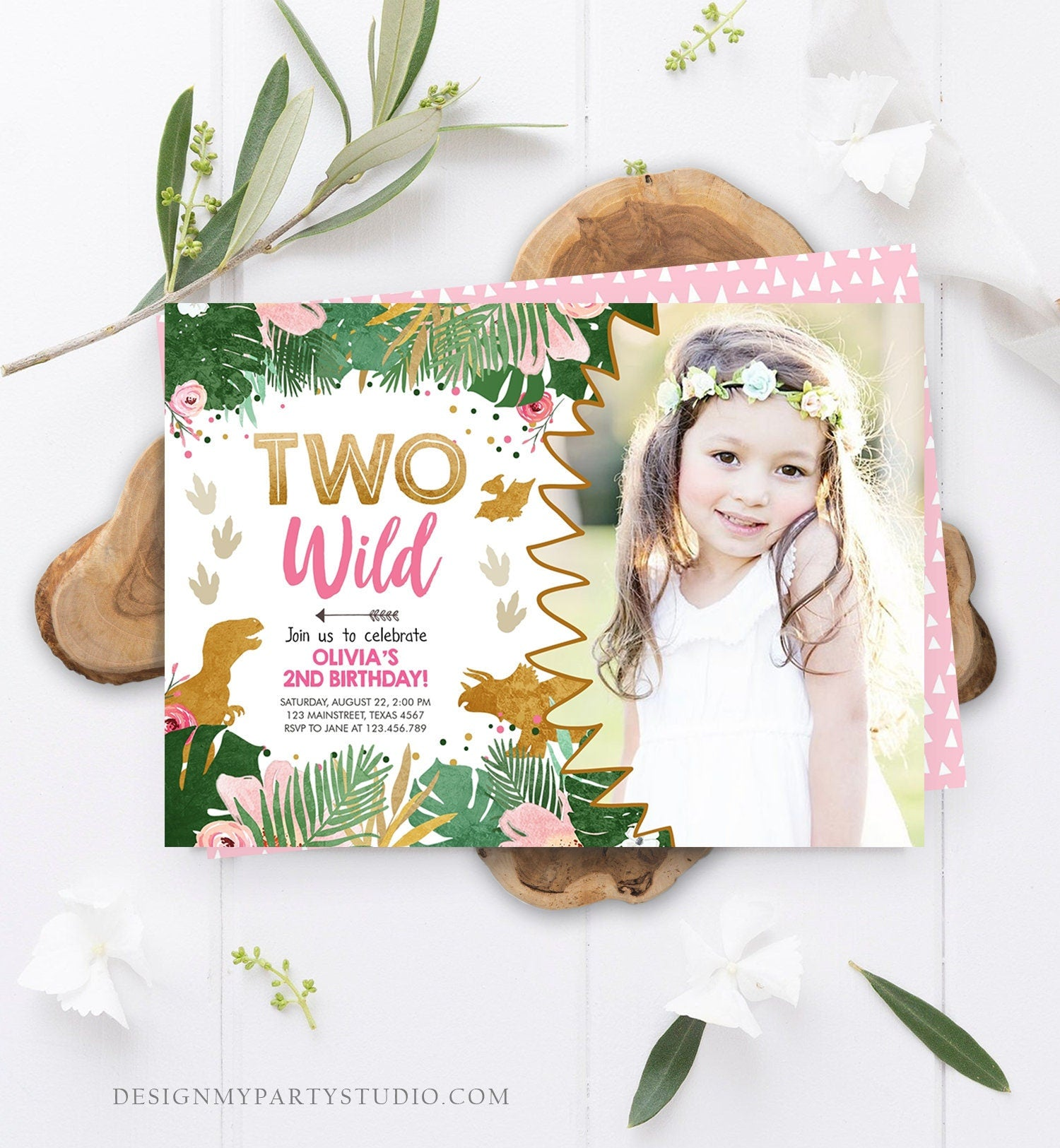Editable Two Wild Birthday Invitation Dinosaur Dino Party Girl 2nd Second Birthday Pink Gold In Two the Wild Corjl Template Printable 0146