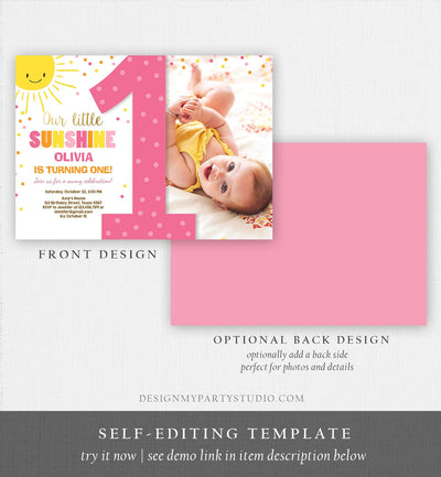 Editable Our Little Sunshine Birthday Invitation You Are My Sunshine First Birthday 1st Party Pink Girl Bow Download Corjl Template 0070