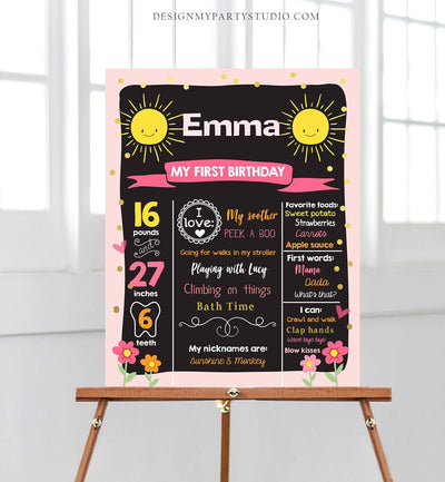 Editable Little Sunshine Birthday Milestones Sign Summer First Birthday 1st Birthday Girl Pink Download Template Printable Corjl 0070