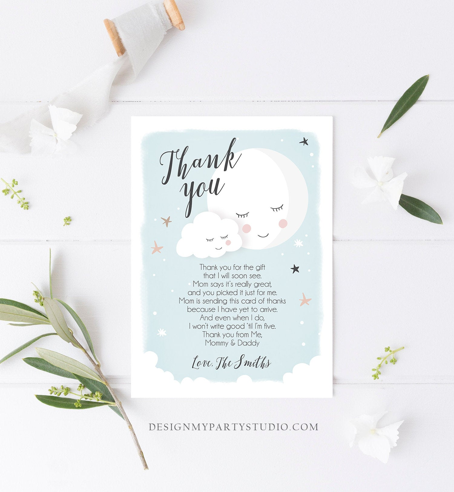 Editable Thank You Card Baby Shower Boy Loved to the Moon and Back Stars Thank You Blue Boy Sprinkle Template Instant Download Corjl 0113