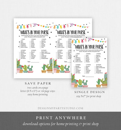 Editable Whats in Your Purse Bridal Shower Game Cactus Fiesta Mexican Coed Shower Succulent Wedding Activity Corjl Template Printable 0254