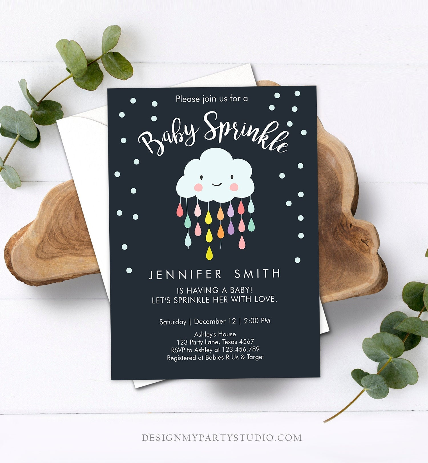 Editable Cloud Baby Sprinkle Invitation Raindrop Sprinkle with Love Rain Drops Neutral Download Printable Corjl Template Digital 0036