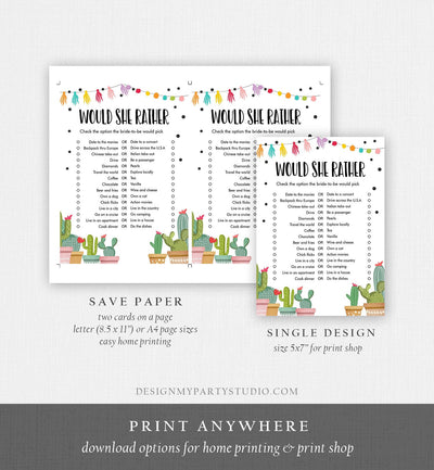 Editable Would She Rather Bridal Shower Game Cactus Fiesta Mexican Coed Shower Succulent Wedding Activity Corjl Template Printable 0254