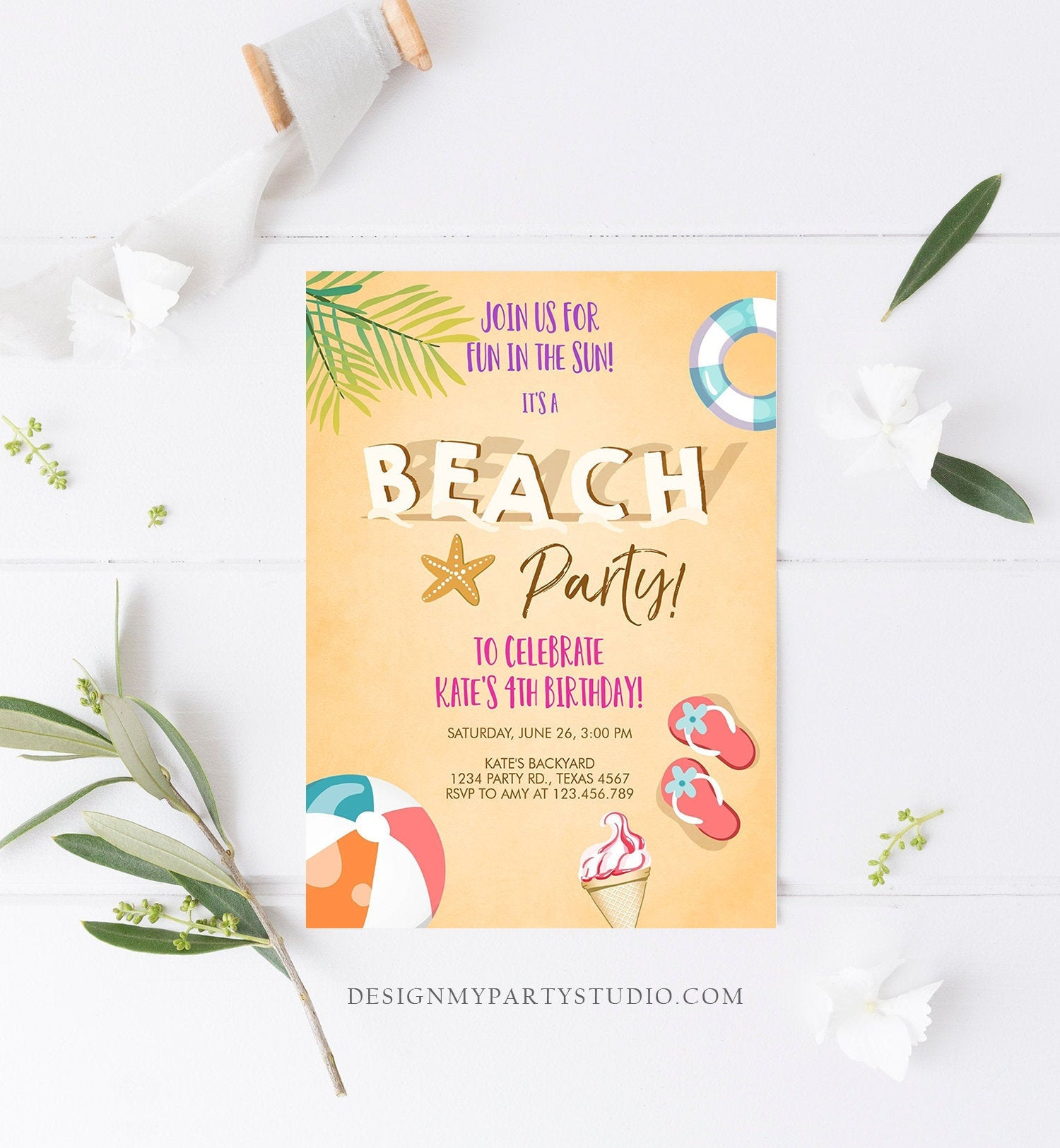 Editable Beach Party Invitation Birthday Invite Surf Party Summer Sea Sand Beach Ball Girl Pink Download Printable Template Corjl 0158