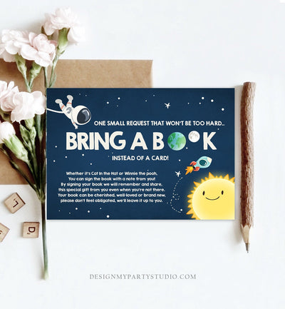Editable Outer Space Bring a Book Card Baby Shower Space Astronaut Around the Sun Baby Sprinkle Boy Rocket Book Insert Corjl Template 0046