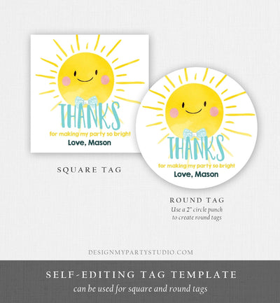 Editable Little Sunshine Favor Tags Boy Blue First Birthday Thank You Tags Label Sun Bow Tie Square Round Corjl Template Printable 0141
