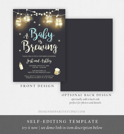 Editable A Baby is Brewing Invitation Bottle and Beers Baby Shower BaByQ BBQ Coed Couples Shower Boy Download Printable Template Corjl 0015