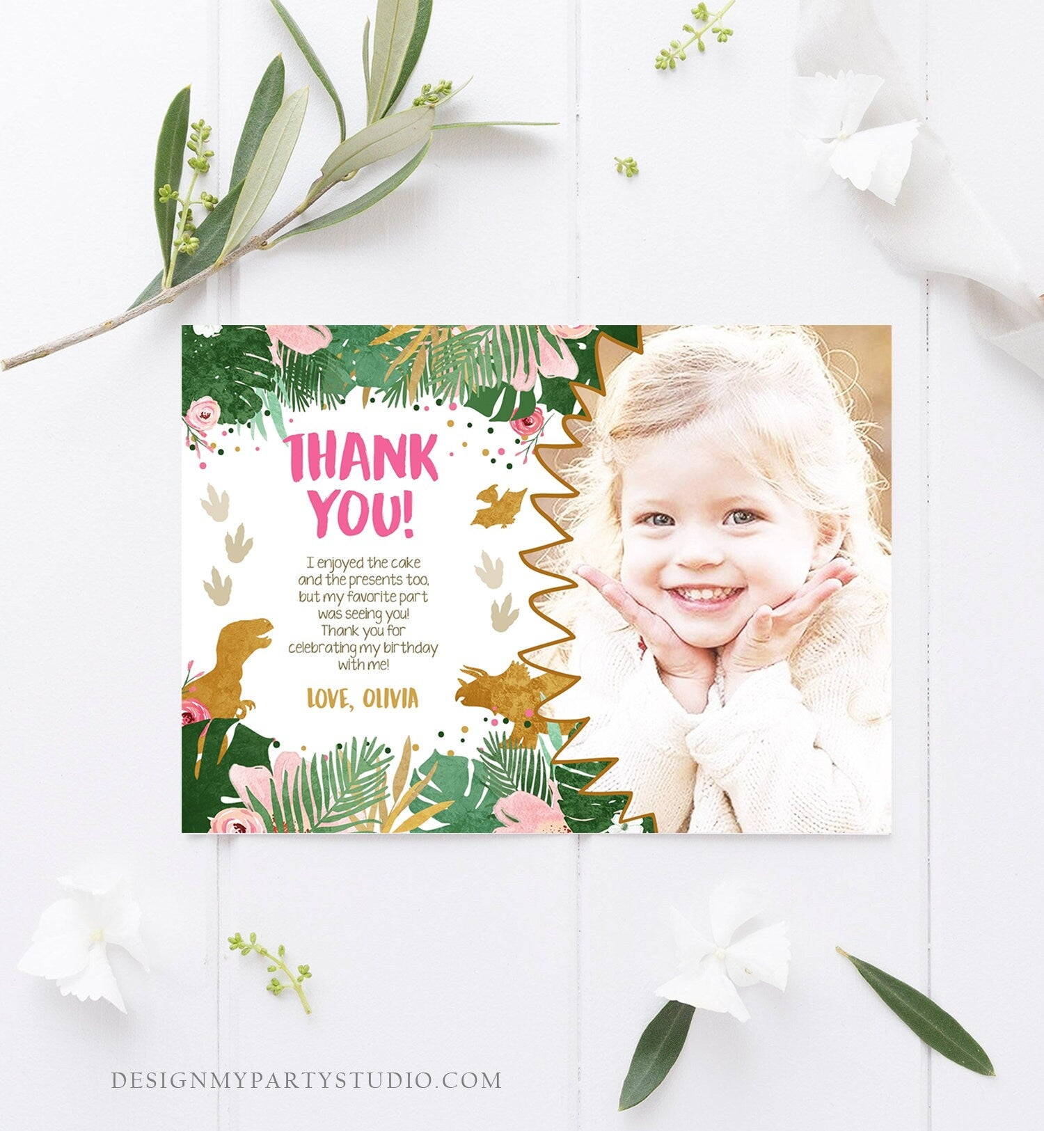Editable Dinosaur Thank You Card Birthday Note Pink Gold Girl Dino Party T-Rex Photo Instant Download Printable Corjl Template Digital 0146