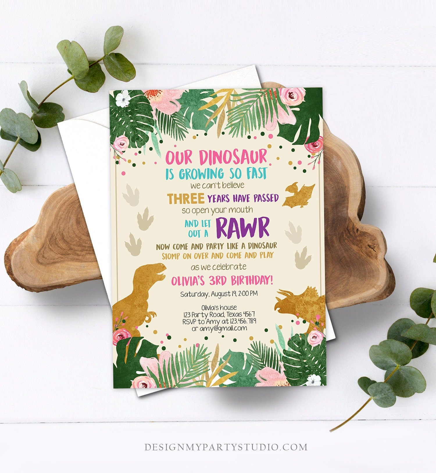 Editable Gold Dinosaur Birthday Invitation ANY AGE Dino Party T-Rex Prehistoric Rawr Girl Pink Gold Download Printable Corjl Template 0146