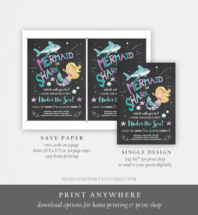 Editable Mermaid or Shark Birthday Invitation Under The Sea Party Coed Pool Party Brother Sister Download Corjl Template Printable 0197