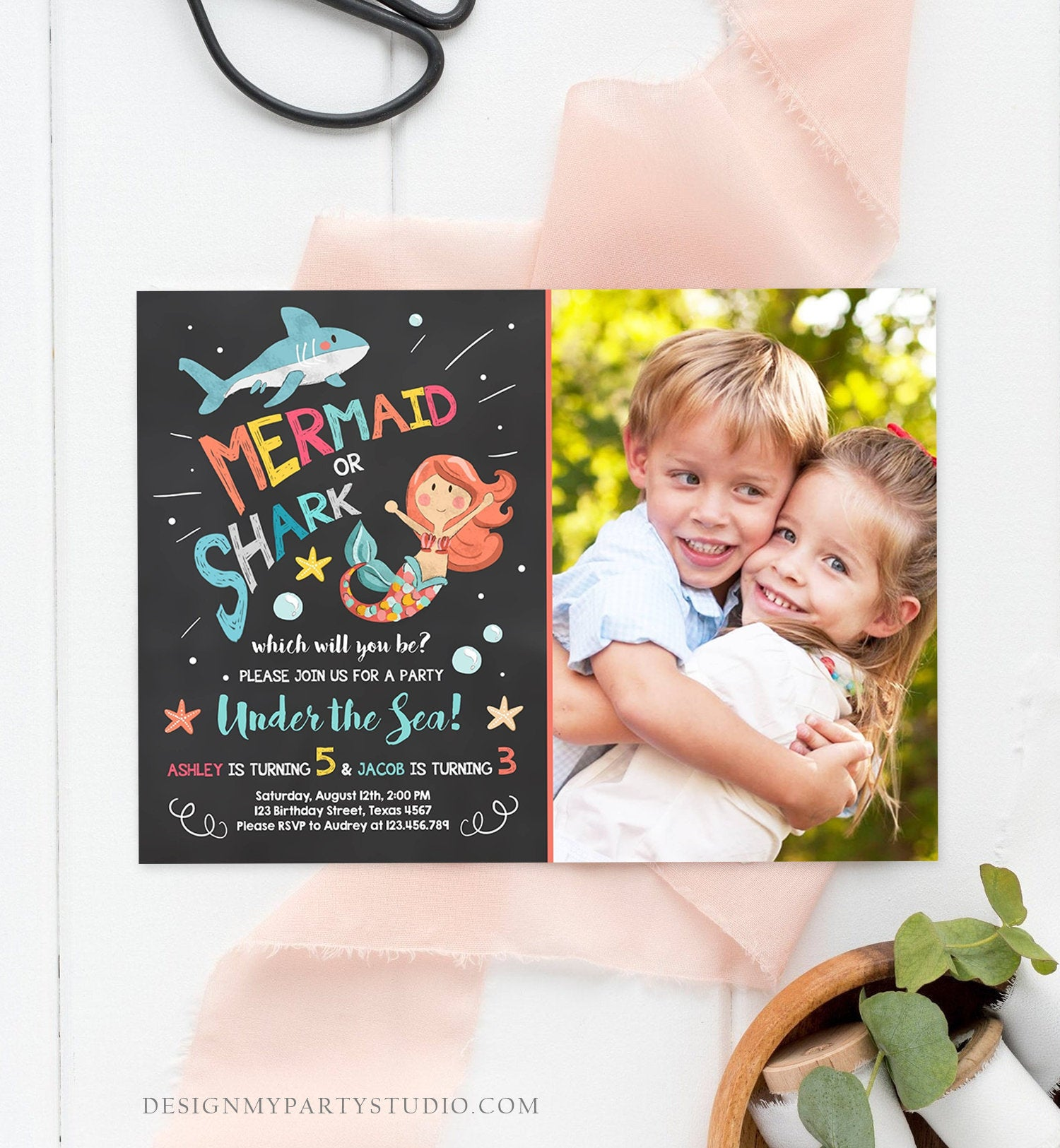 Editable Mermaid or Shark Birthday Invitation Under The Sea Party Coed Pool Party Brother Sister Photo Ocean Corjl Template Printable 0197