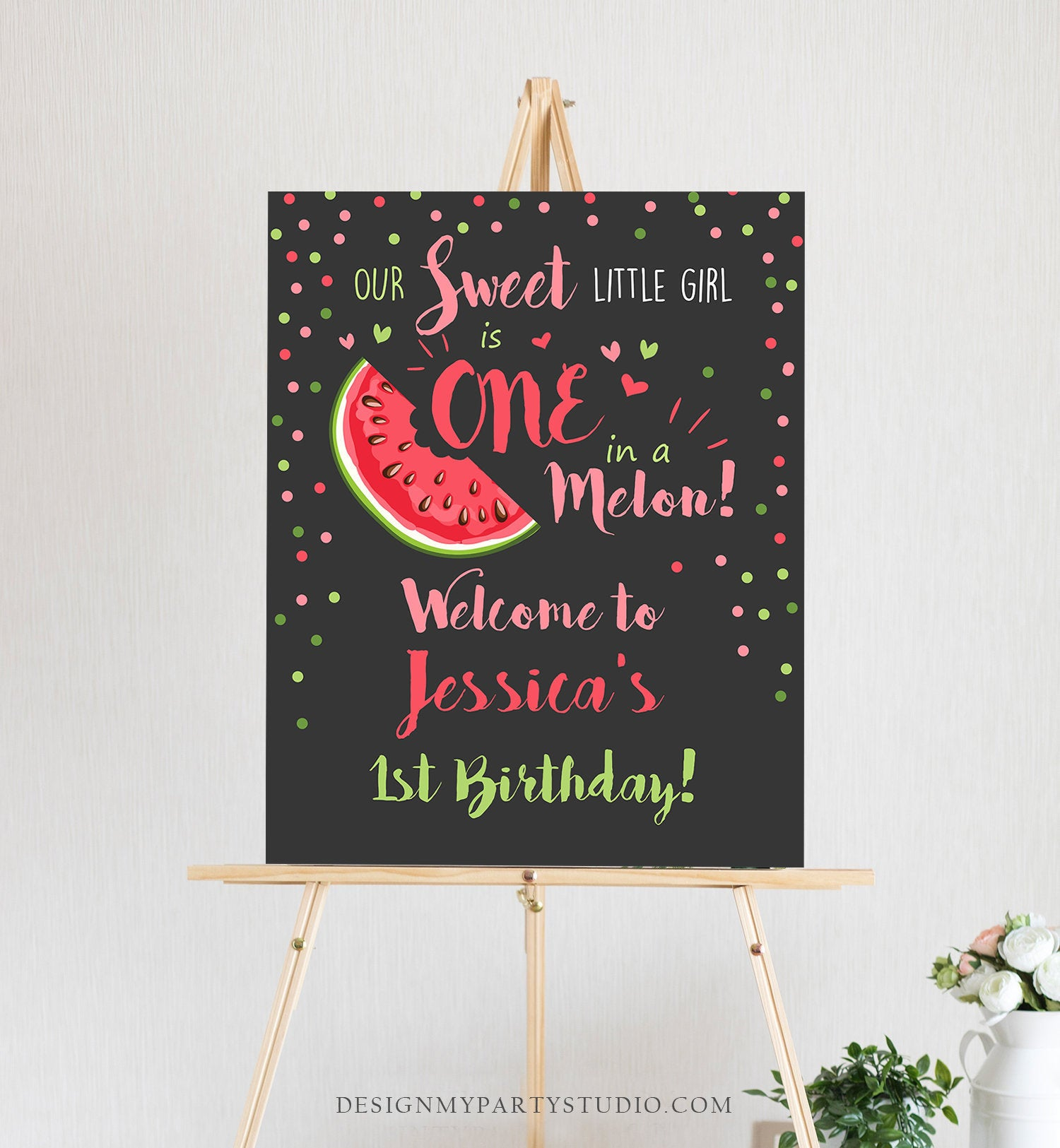 Editable Watermelon Welcome Sign Birthday Girl Pink Red One in a Melon Party Summer Fruit First Birthday 1st Corjl Template Printable 0120