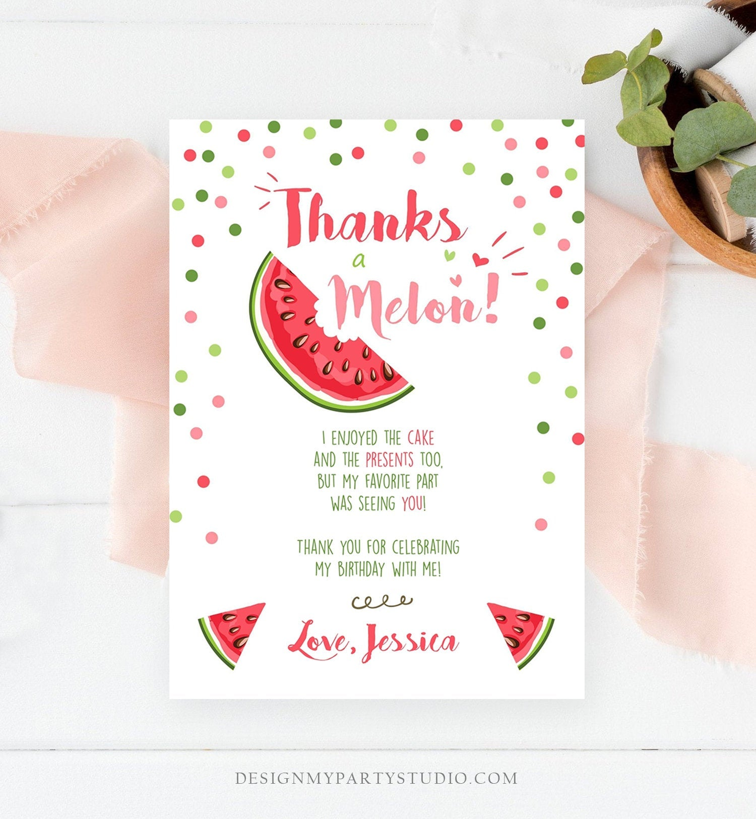 Editable Thanks a Melon Thank You Card Watermelon First Birthday Party Girl Pink Red Melon Summer Fruit Photo Corjl Template Printable 0120