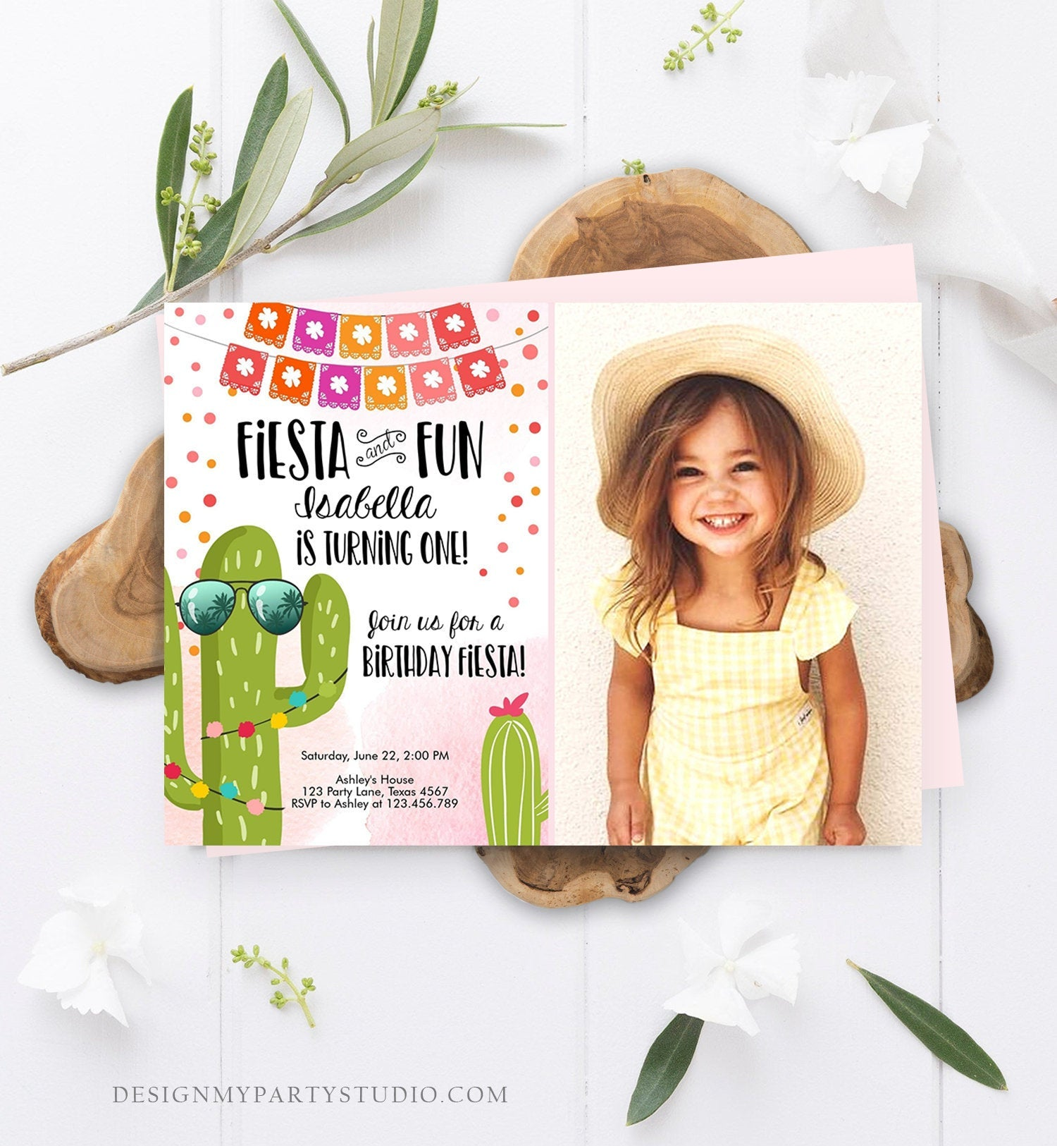 Editable Fiesta and Fun Birthday Invitation First Fiesta Cactus Pink Girl ANY AGE Instant Download Printable Invitation Template Corjl 0135