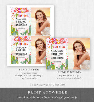 Editable Fiesta and Fun Graduation Party Invitation Finally Done Let's Fiesta Mexican Cactus Pink Girl Template Download Digital Corjl 0135