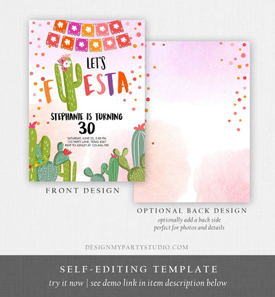 Editable ANY AGE Fiesta Birthday Invitation Let's Fiesta Adult Mexican Thirty Birthday Party Pink Cactus 30th Corjl Template Printable 0135