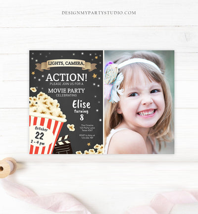 Editable Movie Night Birthday Invitation Boy Girl Movie Invite Cinema Party Backyard Movie Popcorn Download Printable Template Corjl 0182