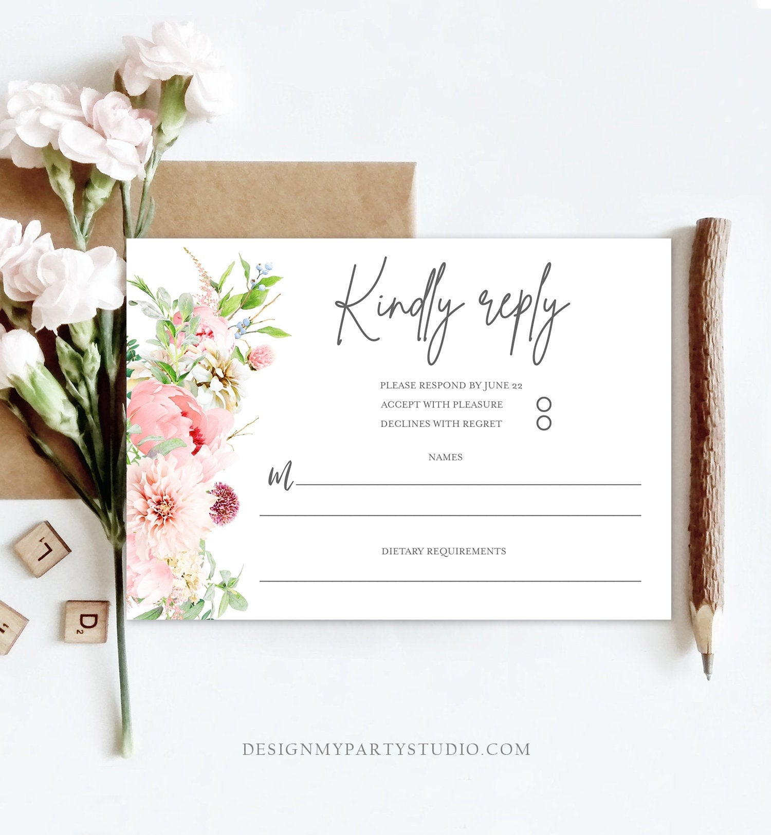 Editable Botanical Flowers RSVP Card Wedding Pink Floral Blush Watercolor Greenery Kindly Reply Peony Flowers Corjl Template Printable 0167