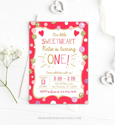 Editable Valentines Birthday Invitation Little Sweetheart Birthday Girl Pink Red First Birthday Download Corjl Template Printable 0299