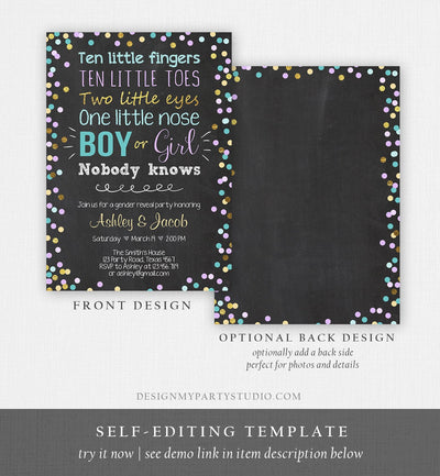 Editable Gender Reveal Invitation Baby Shower Boy or Girl Purple Blue He or She Confetti Gold Corjl Template Instant Download Digital 0133