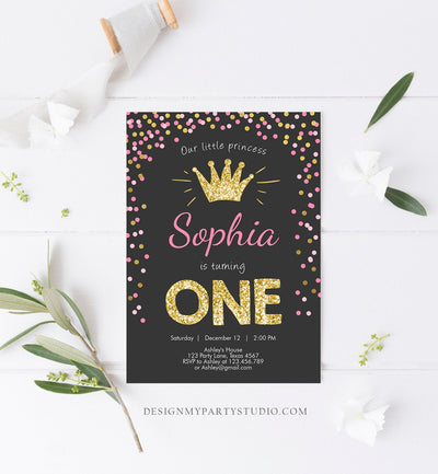 Editable Little Princess Birthday Invitation Girl Pink Gold First Birthday 1st ANY AGE Confetti Crown Download Corjl Template Printable 0047