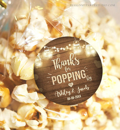 Editable Thanks For Popping By Gift Tag Birthday Party Favor Tag Popcorn Stickers Rustic Wood Lights Template DIY Corjl Printable 0015