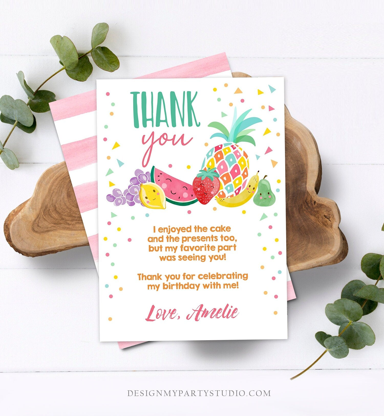 Editable Twotti Frutti Thank You Card Fruit Birthday Tutti Frutty Birthday Girl Summer Fruit Download Printable Template Digital Corjl 0139
