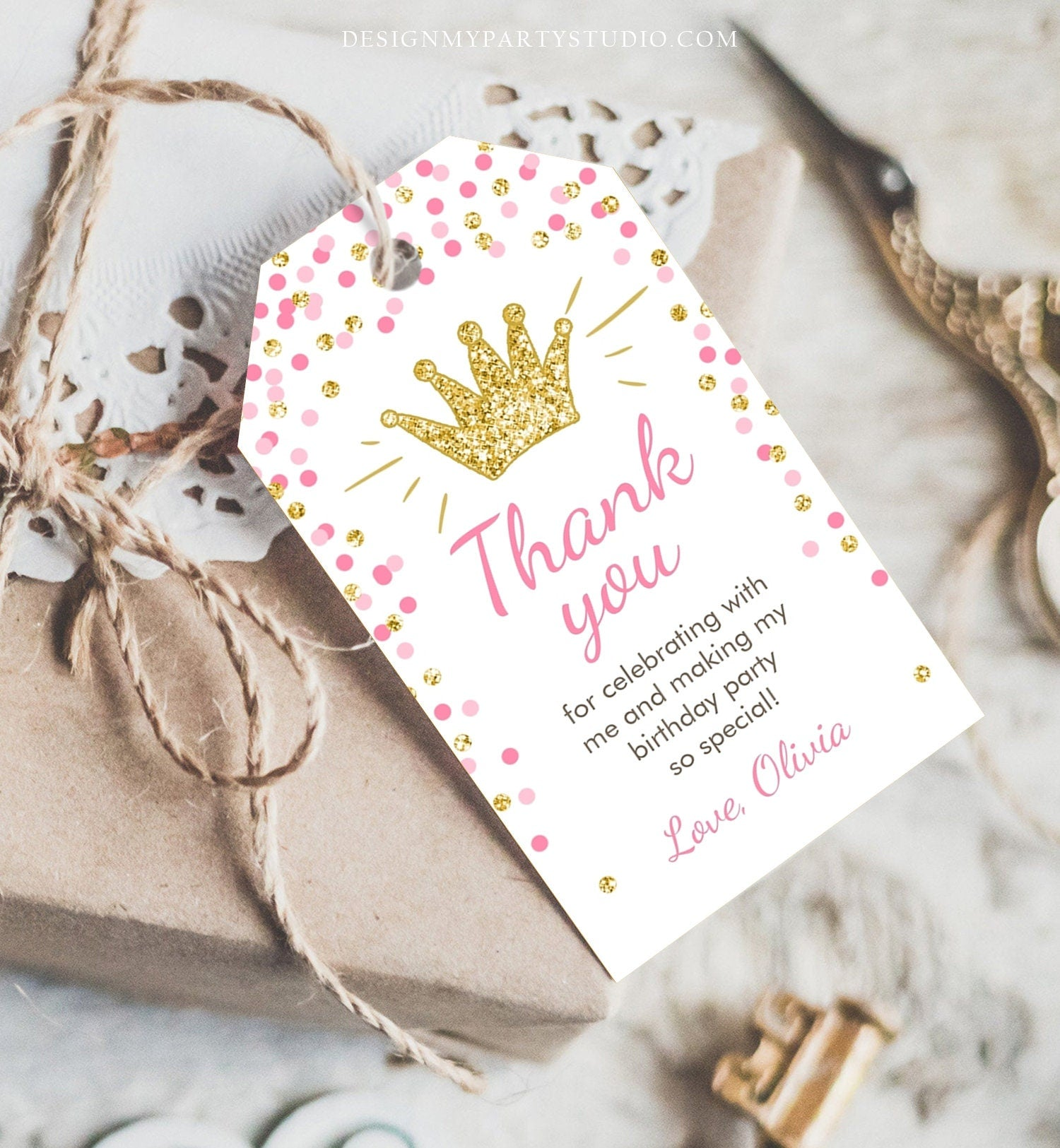 Editable Little Princess Favor Tags Thank You Girl Birthday Pink Gold Confetti Crown Royal Party Download Corjl Template Printable 0047