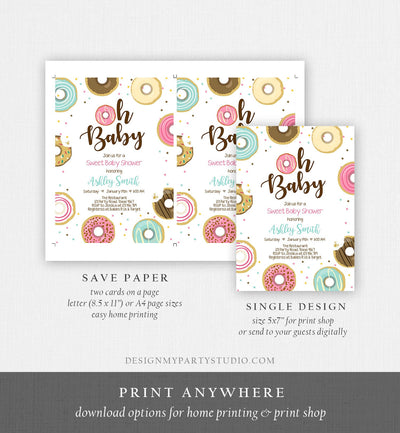 Editable Donut Baby Shower Invitation Oh Baby Coed Shower Doughnut Sweet Gender Neutral Pink Girl Download Corjl Template Printable 0050