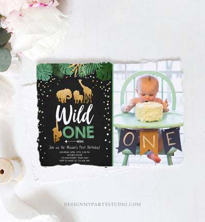 Editable Wild One Birthday Invitation Safari Animals Jungle Boy Gold First Birthday 1st Rustic Leaves Download Corjl Template Printable 0016