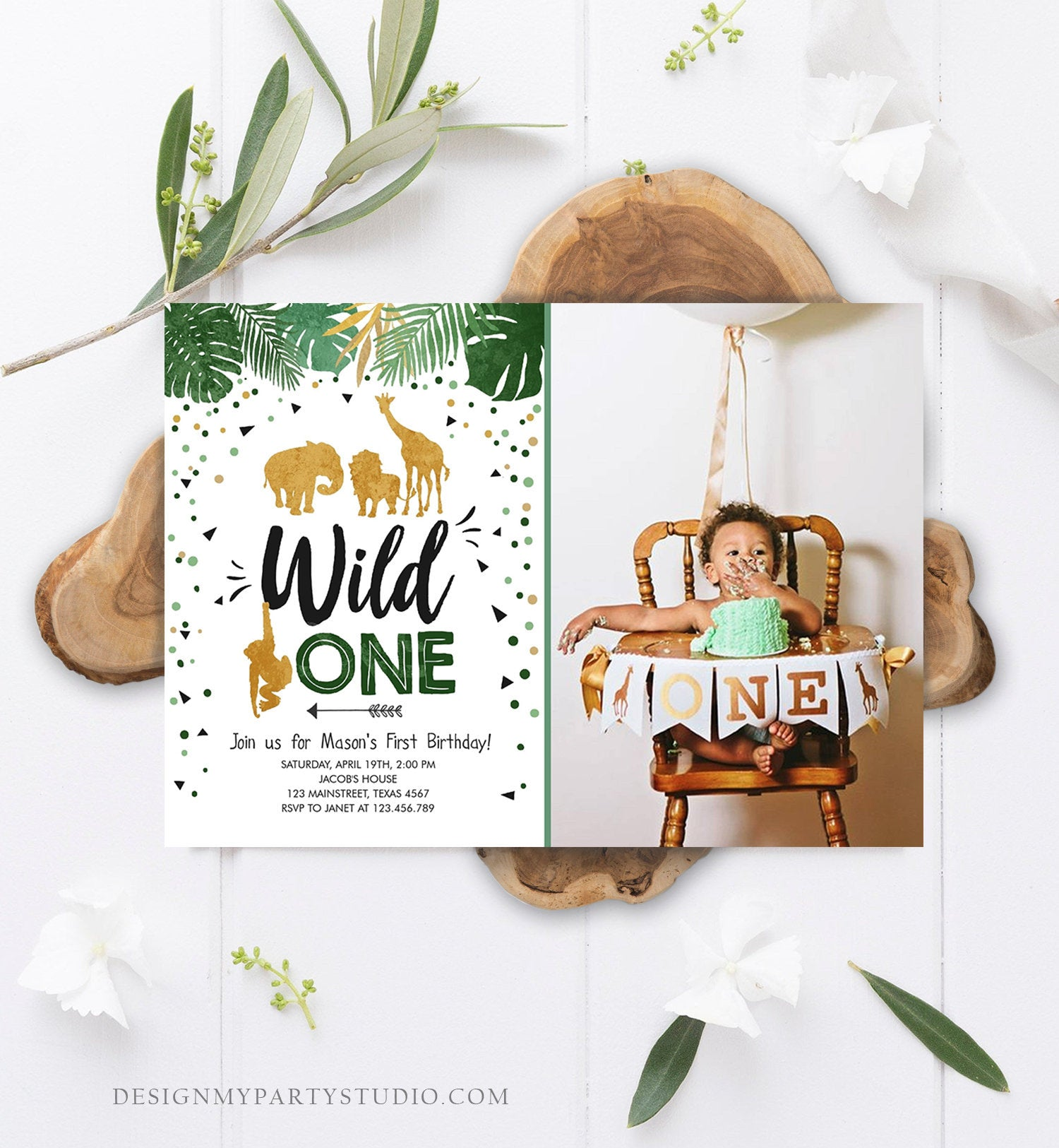 Editable Wild One Birthday Invitation Safari Animals Jungle Zoo Animals Black Gold First Birthday 1st Download Printable Corjl Template 0016