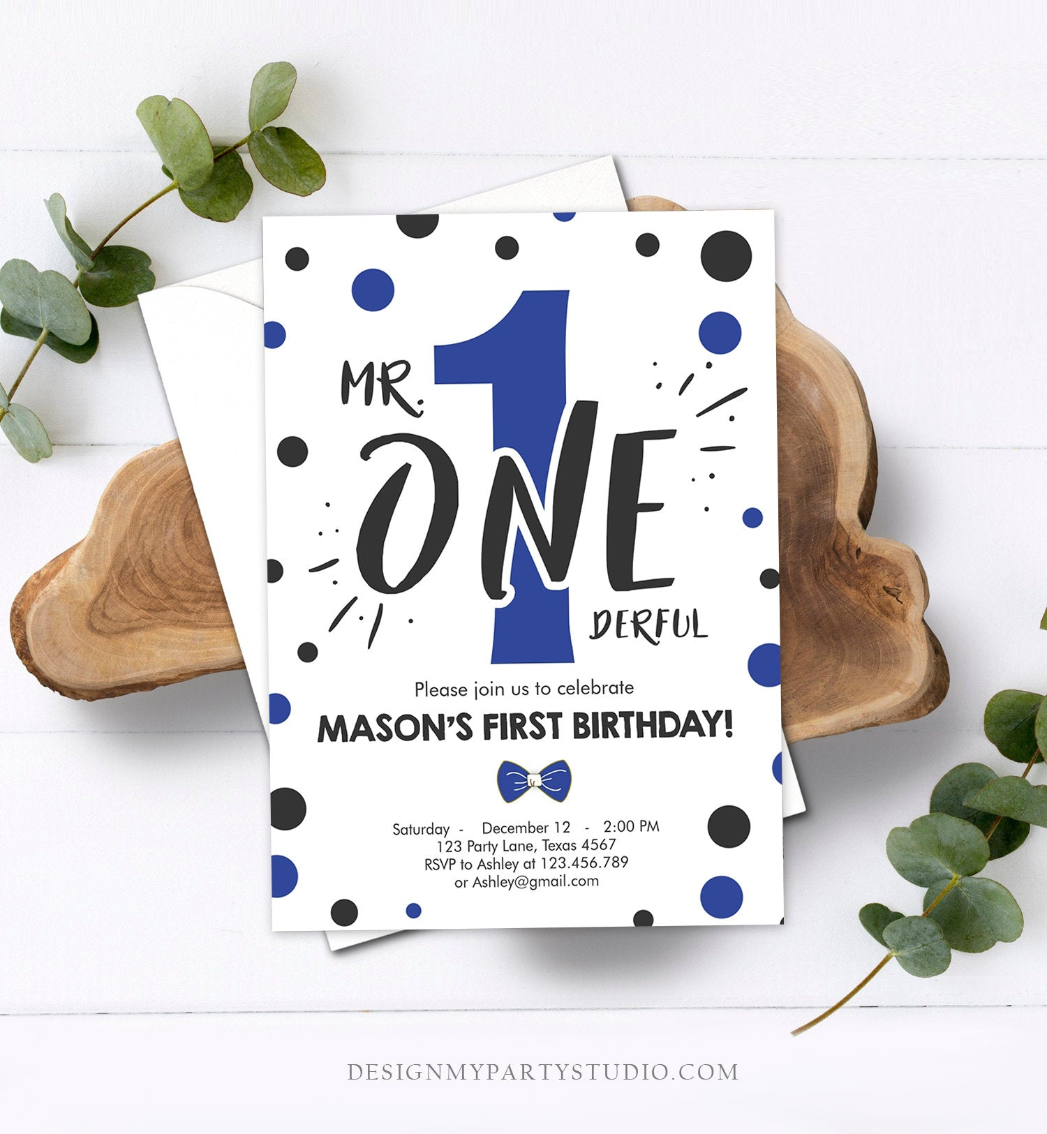 Editable Mr Onederful Birthday Invitation Black Royal Blue Boy Bow Tie Confetti 1st Navy Blue Download Printable Template Digital Corjl 0072